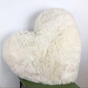 Large Fur Heart Pillow